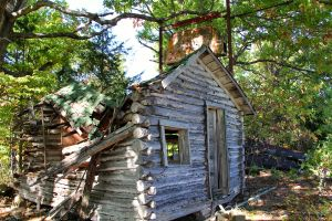 The main cabin with the remains of the neon sign.