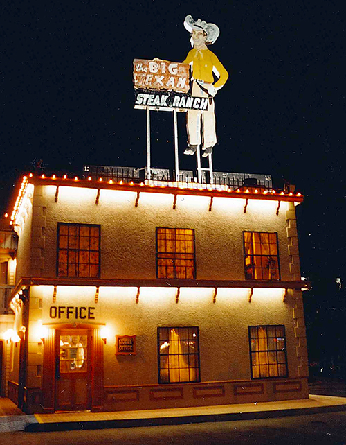 The main office of The Big Texan Motel, beckoning drivers off 66 and the Interstate. July 15, 2001.