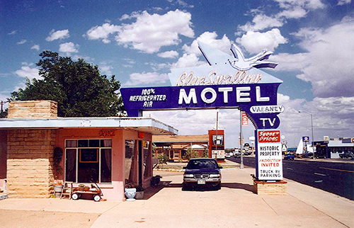 The Blue Swallow Motel in Tucumcari, New Mexico, was on the way out. But it has since been saved and received rave reviews from those who have visited. One day, I hope to stay there myself. July 16, 2001.