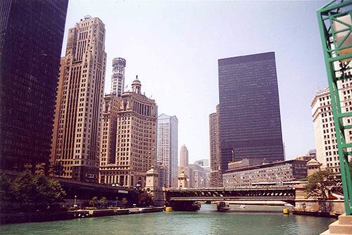 The Chicago River with the old Chicago Sun Times building to the right. It is now the site of the Donald I'm A Douchebag Trump tower.