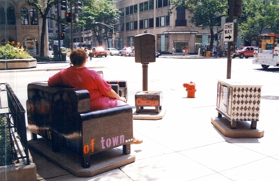 Chicago's Public Art Project, Chairs. I wish this was a project that caught on in all cities—we'd never have to worry about sore feet.