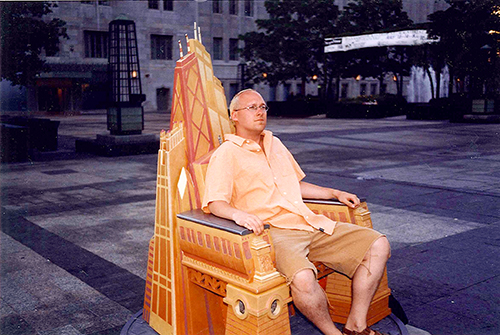 Me in a Chicago Chair by Tribune Tower. July 10, 2001.