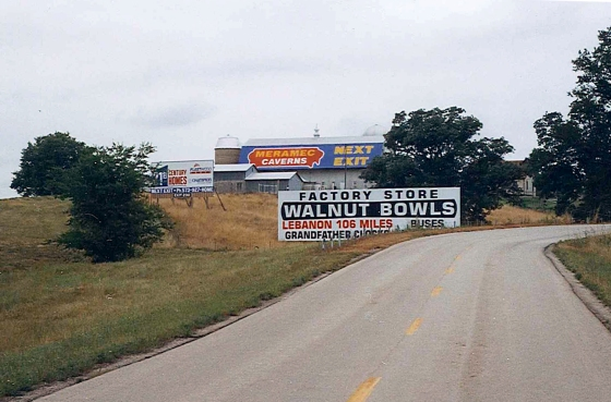 A sign on the side of a barn advertising Meramec Caverns in Stanton, Missouri. At the time I didn't wan to pay the $10 entry fee, What and idiot I can be. July 12, 2001.