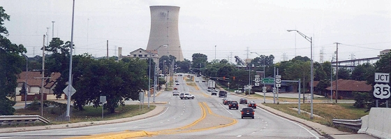 There is nothing comforting about entering a town and being greeted by a nuclear power plant. This one looms over U.S. Route 20 in Michigan City, Indiana.