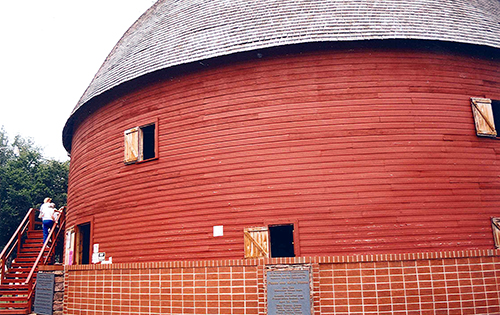 The Round Barn of Arcadia, Oklahoma, was saved by a local civic group who didn't want to see one of the very few round barns in the U.S. destroyed. July 14, 2001.