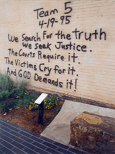 A message from a rescuer preserved for posterity at the site of the Oklahoma City Bombing. July 14, 2001.