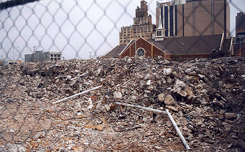 Almost 10 years later, the rubble from the Oklahoma City Bombing still surrounded the space where the U.S. Federal Building once stood. July 14, 2001.