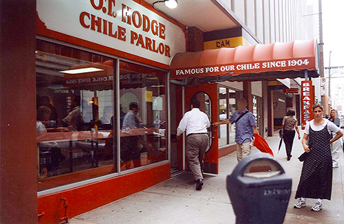 O. T. Hodge Chile Parlor, where the chili tasted just like Hormel, but the service and clientele was excellent. July 12, 2001.