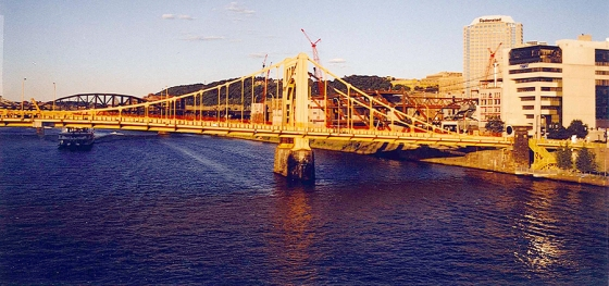 The South Tenth Street Bridge in Pittsburgh, Pennsylvania at sunset. Kyle and I were on our way to grab some food at a not so reputable place.
