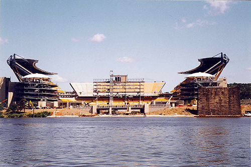 Three Rivers Stadium in the middle of the building process. July 6, 2001. It would be another year before the Pirates settled in.