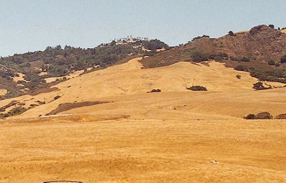 Heading north, Kyle and I had the opportunity to visit Hearst Castle, but we had missed there last tour bus and didn't want to wait another hour for the next tour. I shot this photo from our van, and would finally get to see San Simeon six years later. July 23, 2001.
