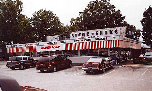 Steak and Shake—Done in sight, it must be right! This mainly midwestern burger chain in Carthage, Missouri, was a treat for Kyle and I. The burgers tasted fresh and the chili hearty. Sadly, they have not made it to Philly yet. July 13, 2001.