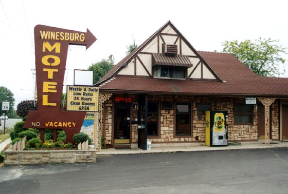 Our digs for the night—The Winesburg Motel. At the time is was the perfect fleabag motel. Plenty of local color. Subsequent visits would reveal a darker side of Clyde. July 7, 2001.