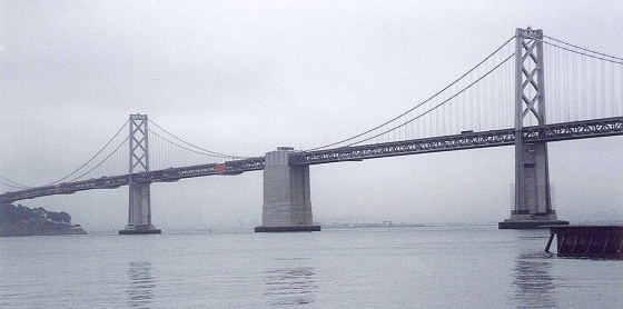 The Bay Bridge in San Francisco is where many of my nightmares take place, particularly when I think of the half-cocked bus drivers who have driven me over it. July 26, 2001.