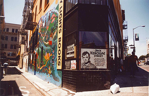 The exterior of City Lights Bookstore. A magical, one of a kind place that in years to come will end up being a haven for the few allowed to live with brains in their heads. July 24, 2001.